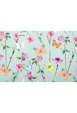 Stenzo 100% Digital Baumwolle Blumen Schmetterlinge Altgrün