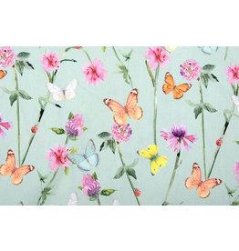 Stenzo 100% Digital Cotton  Flowers Butterfly Old Green