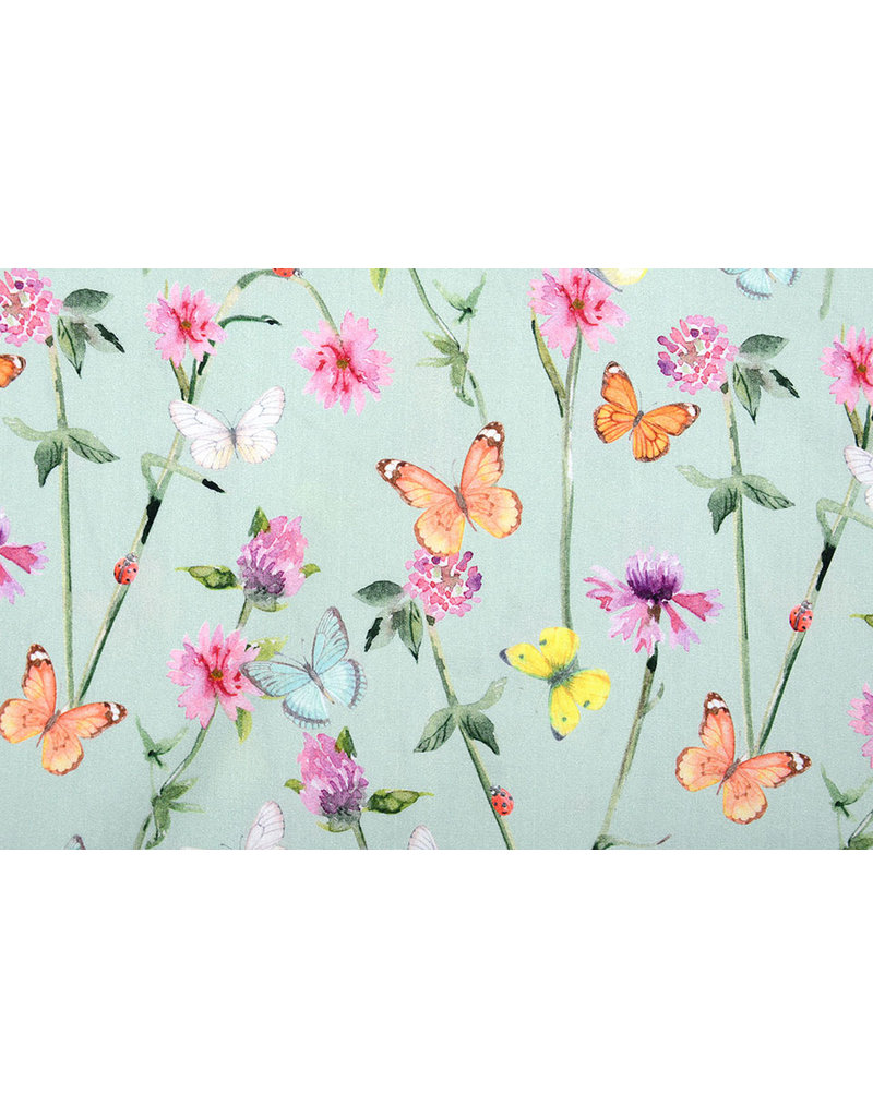 100% Digitaal Katoen Bloemen Vlinders Oud Groen