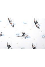 Stenzo 100% Digitaal Katoen Vliegtuig Raket Watercolor Wit