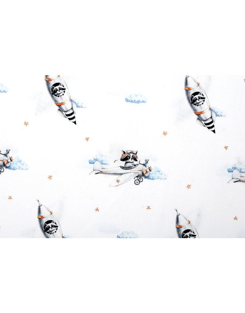 100% Digitaal Katoen Vliegtuig Raket Watercolor Wit