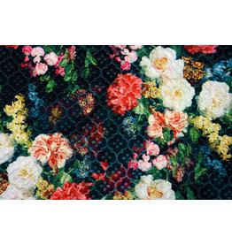 Kapitone Tricot Digital gedruckte Blumen Schwarz