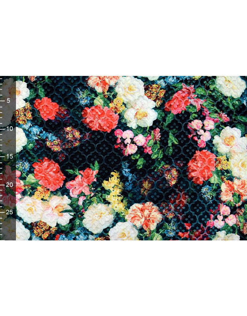 Kapitone Tricot Digitaal Bedrukt Bloemen Zwart