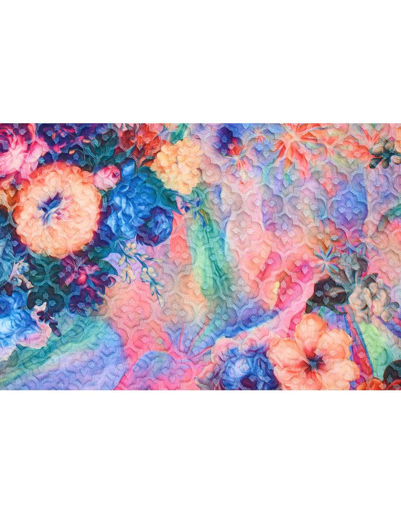 Kapitone Tricot Digital gedruckte Blumen Multi Regenbogen