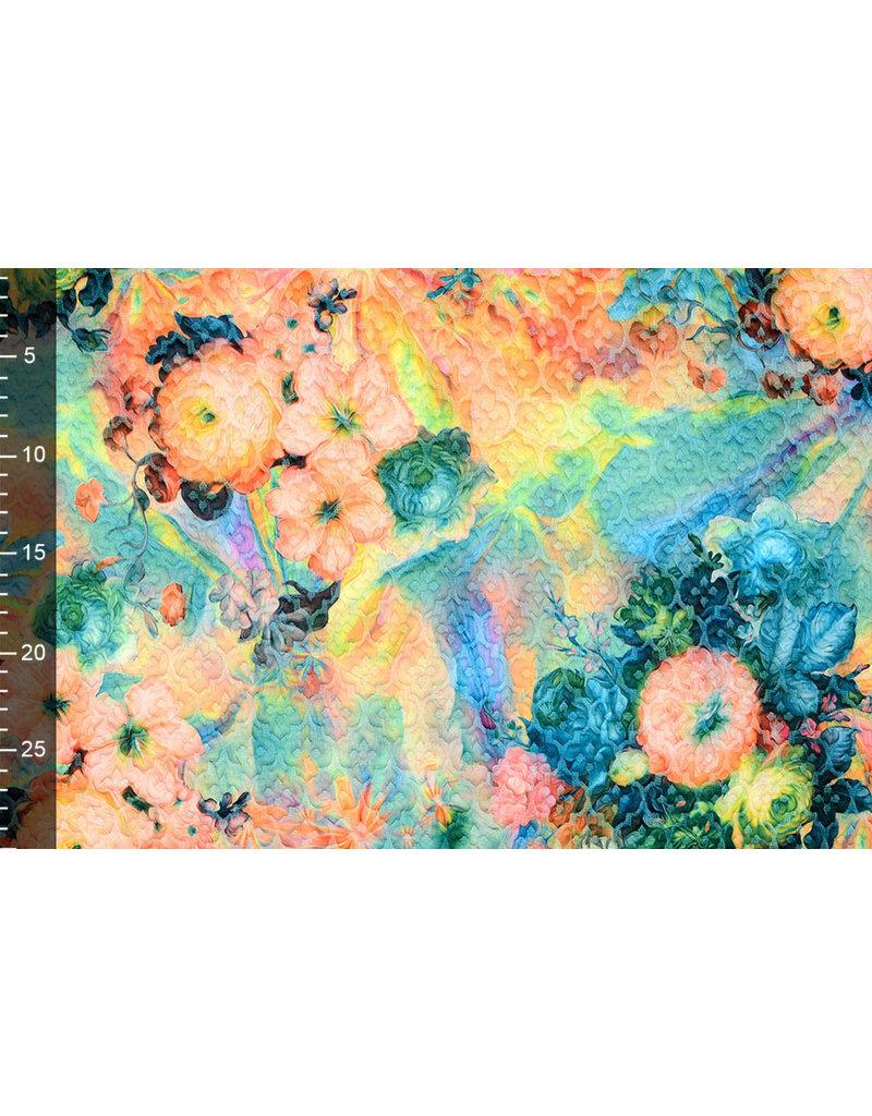 Kapitone Tricot Digital gedruckte Blumen Grün