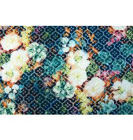Kapitone Tricot Digital gedruckte Blumen Blau
