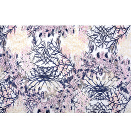Mesh Embroidered Flors Navy Blue