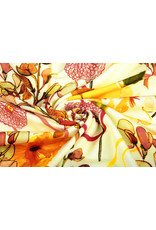Oeko-Tex®  Cotton Jersey Digitaal Bloemen Geel Brique