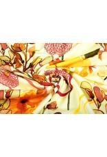 Oeko-Tex®  Cotton Jersey Digital Poppy Blumen Gelbe Brique