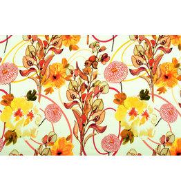 Viscose Jersey Digital Poppy Blumen Gelbe Brique