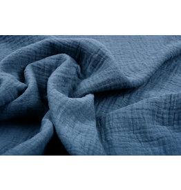 Oeko-Tex®  Baumwoll Musselin Stoff Polizei Blau