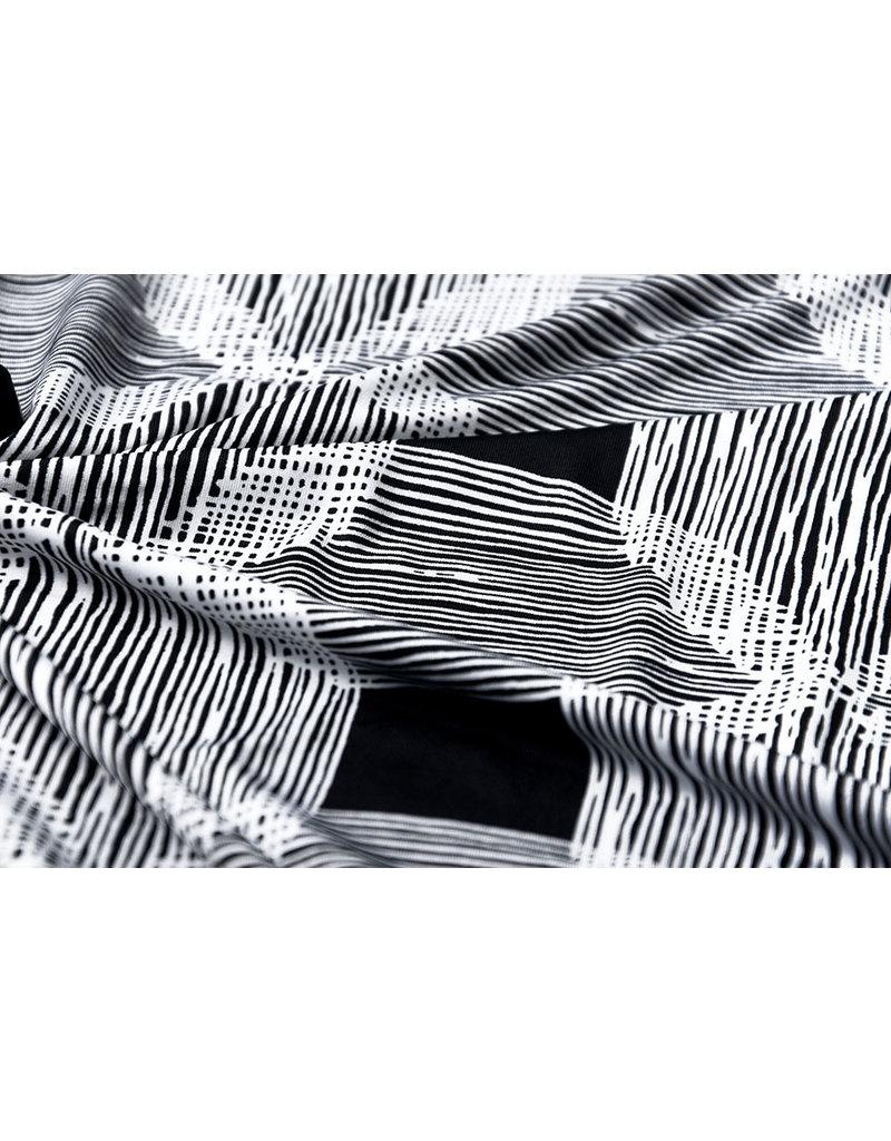 Lycra tricot Simmer Poncanna Zwart Wit