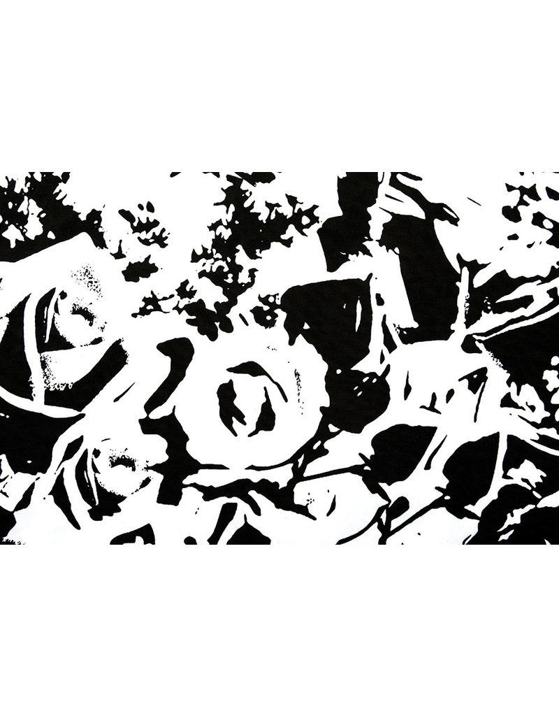 Lycra tricot Simmer Ghio Zwart Wit