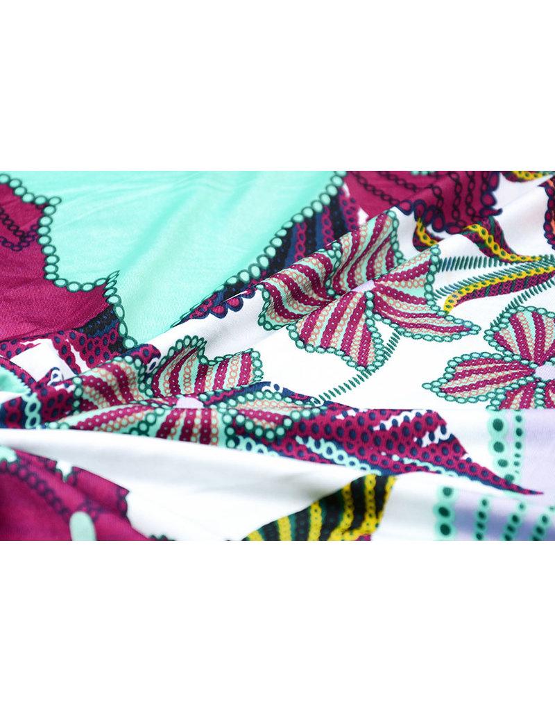 Lycra tricot Simmer Tropische bloemen Wit