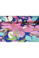 Lycra tricot Simmer Tropische bloemen Blauw