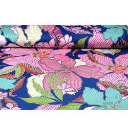 Lycra Trikot Simmer Tropische Blumen Blau