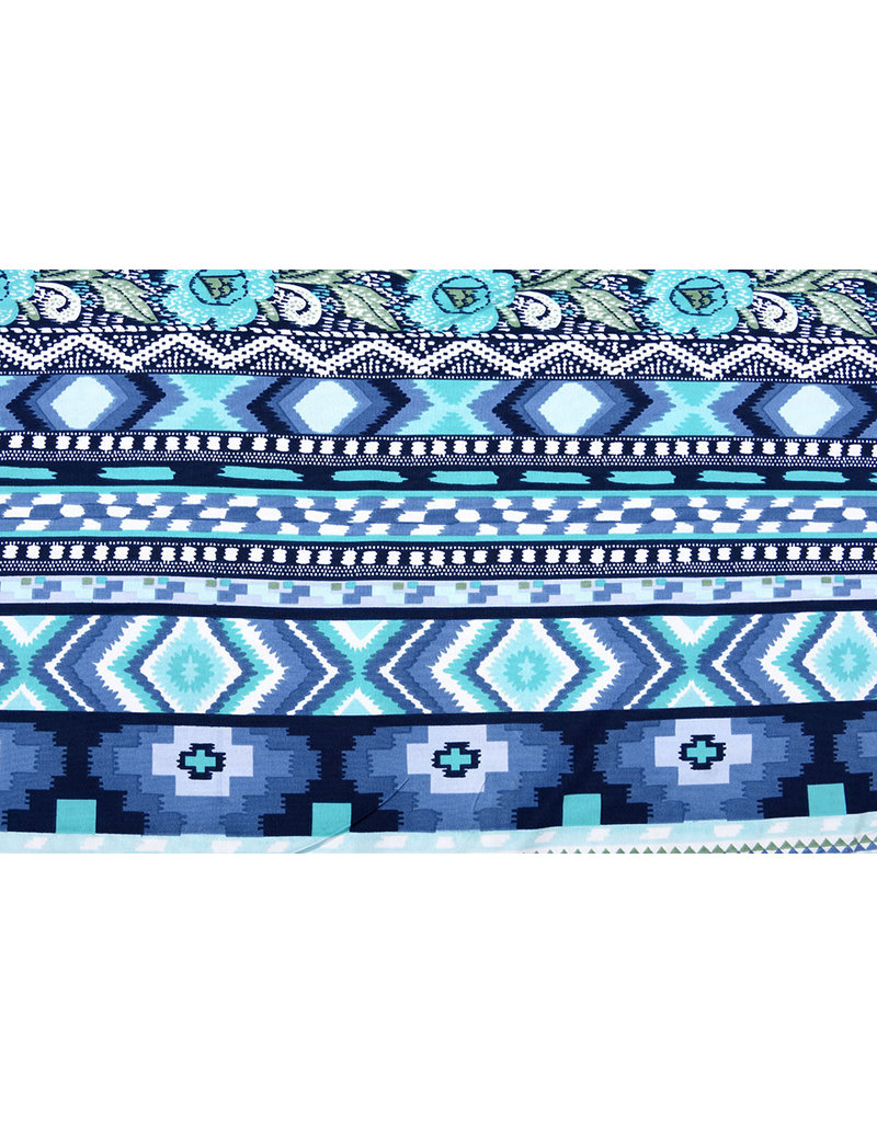 Lycra tricot Simmer Xime Multi Blauw