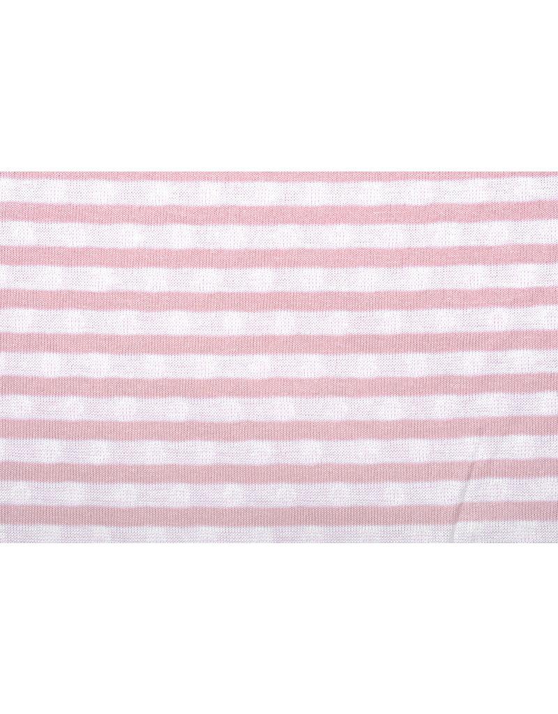 Gestrickte Baumwollstreifen Doppelseitige Streifen und Punkte Pink