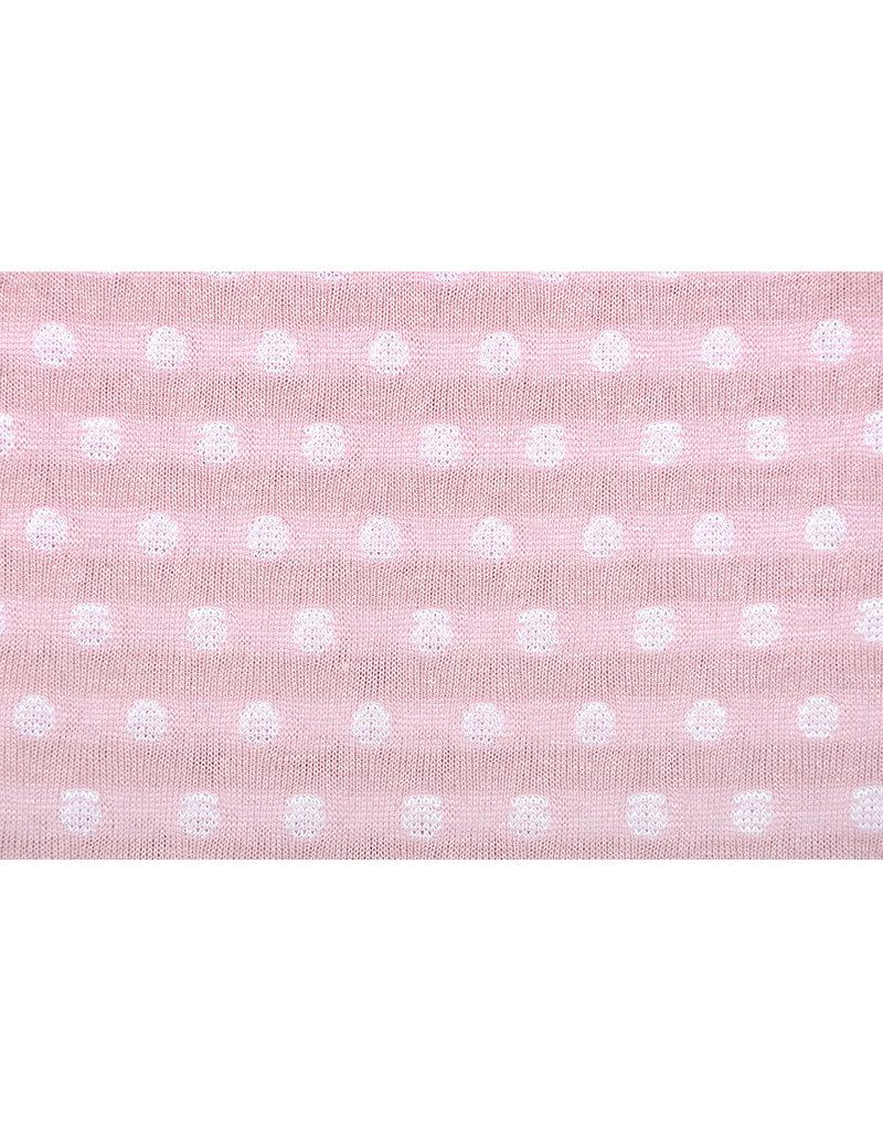 Gebreide katoen dubbelzijdig strepen en stippen Roze