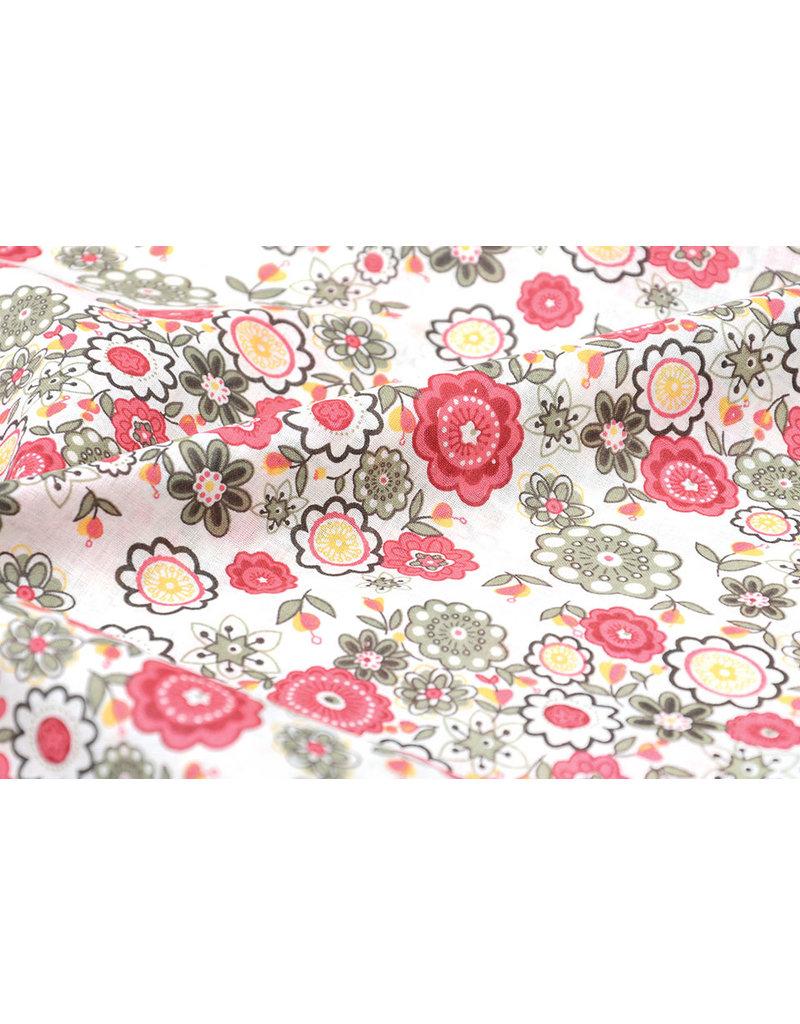 100% Baumwolle Blomster Rosa Grün
