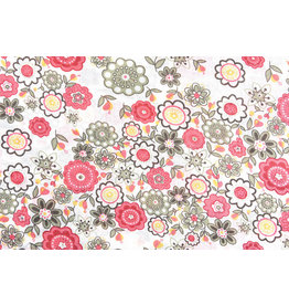 100% Cotton Blomster Pink Green