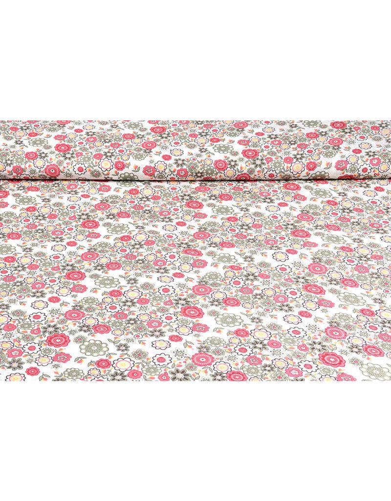 100% Katoen Blomster Roze Groen