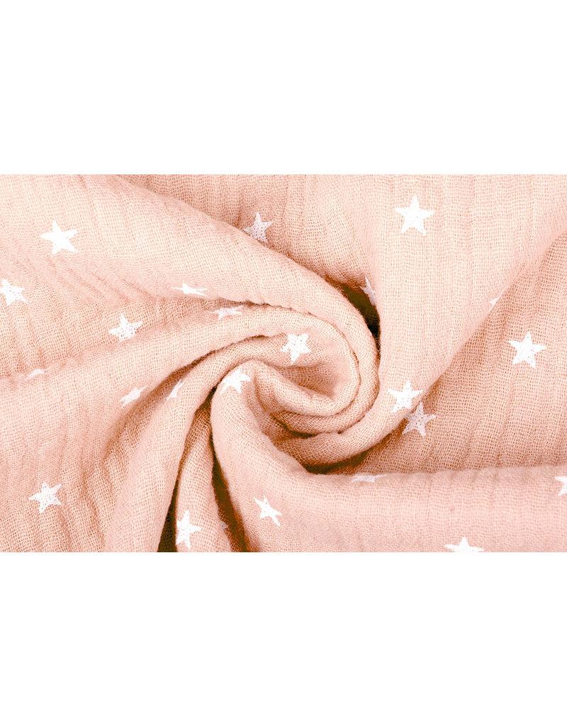 Oeko-Tex®  Baumwoll Musselin Stoff Sterne Pfirsich