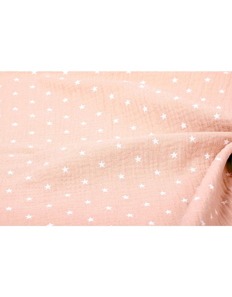 Oeko-Tex®  Hydrofiel stof sterren Peach