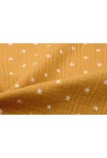 Oeko-Tex®  Baumwoll Musselin Stoff Sterne Ockergelb
