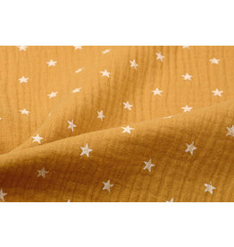 Oeko-Tex®  Double Gauze Fabric  stars Ocher Yellow