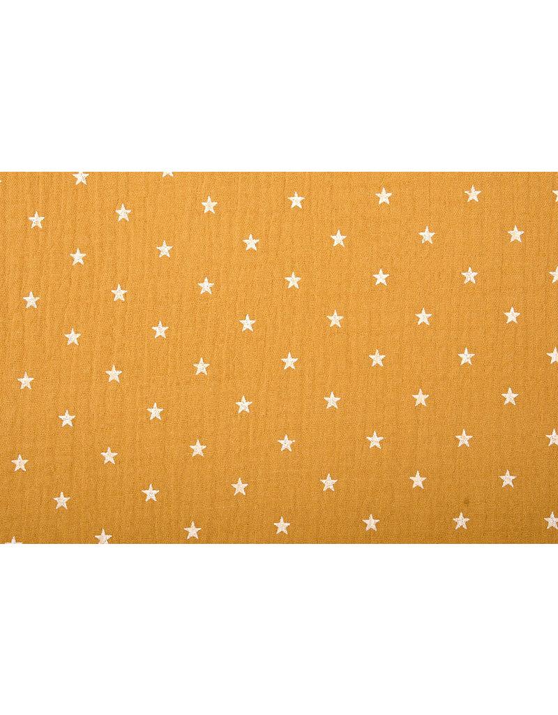 Oeko-Tex®  Baumwoll Musselin Stoff Sterne Ocker Gelb