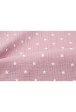 Oeko-Tex®  Baumwoll Musselin Stoff Sterne Altes Rosa