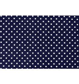 100% Baumwolle Punkte Dots Marine Weiß