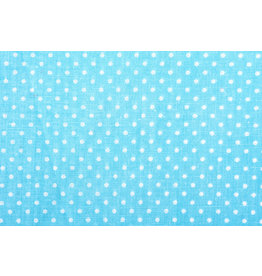 100% Cotton Dots Mini Aqua White