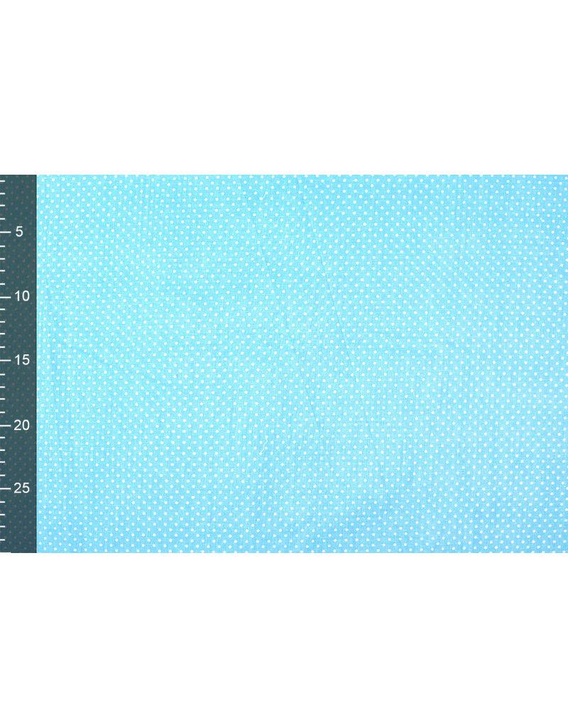 100% Katoen Stippen Mini Aqua Wit