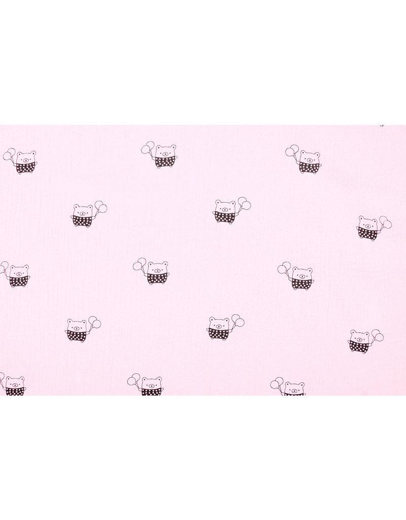Oeko-Tex®  Hydrofiel stof beertjes Licht Roze