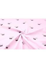 Oeko-Tex®  Baumwoll Musselin Stoff Bären Hell-Pink