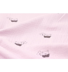 Oeko-Tex®  Double Gauze Fabric Bears Light pink