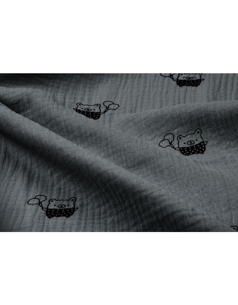 Oeko-Tex®  Baumwoll Musselin Stoff Bären Grau