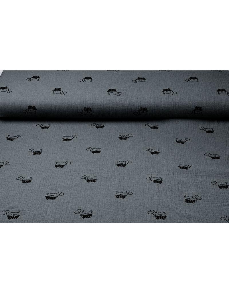 Oeko-Tex®  Hydrofiel stof beertjes Grijs