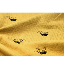 Oeko-Tex®  Double Gauze Fabric Bears Ocher Yellow
