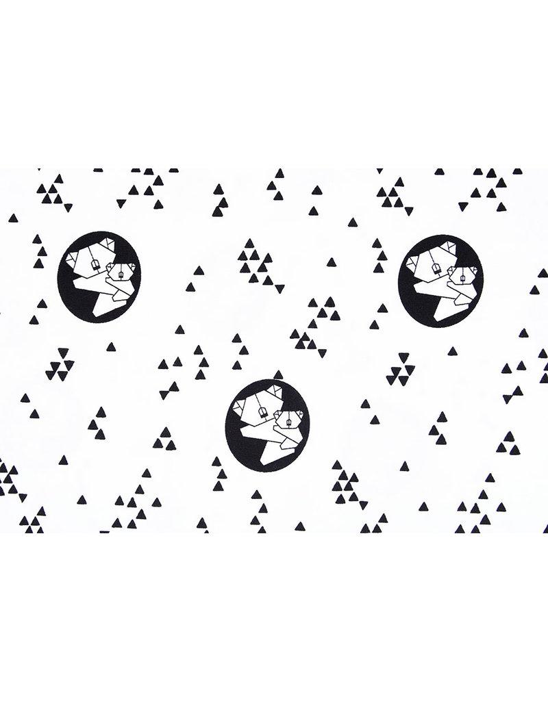 100% Baumwolle  Kleiner Bär Weiß Schwarz