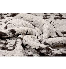 Knitted Woolen fabric Sheep Wool look Diamond Dark Brown
