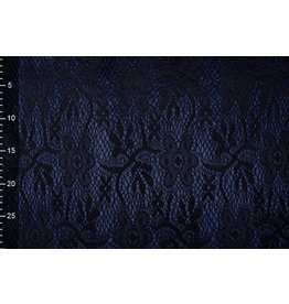 Lace on Charmeuse Navy
