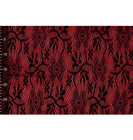Lace on Charmeuse Red