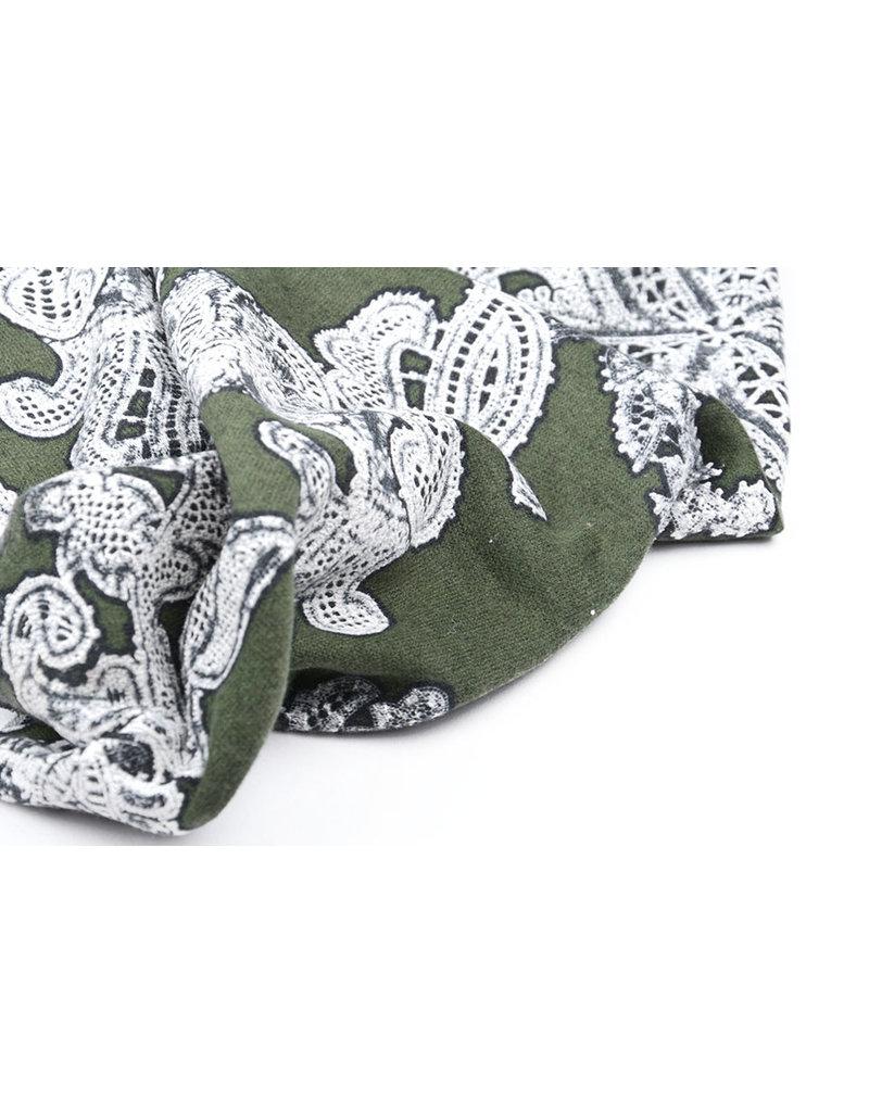 Tricot Bloemen Army Groen