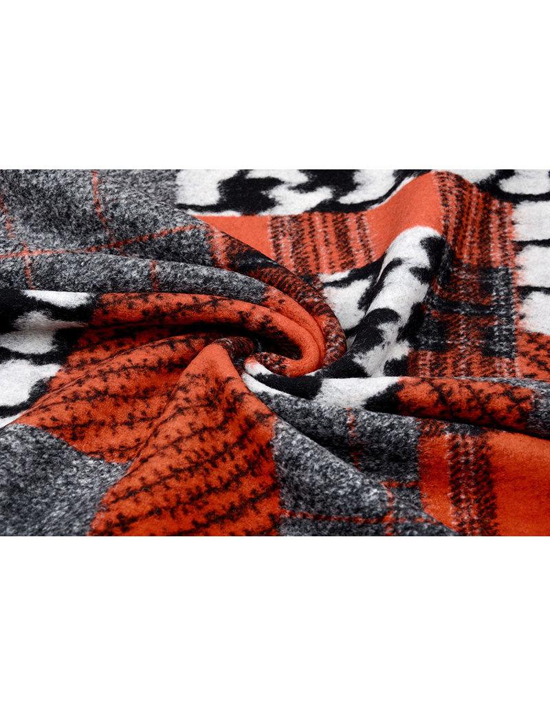 Gebreide Wollen stof Quiltlook Zwart Pied-de-poule Brique