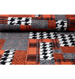 Knittede Wollen stof Quiltlook Zwart Pied-de-poule Brique