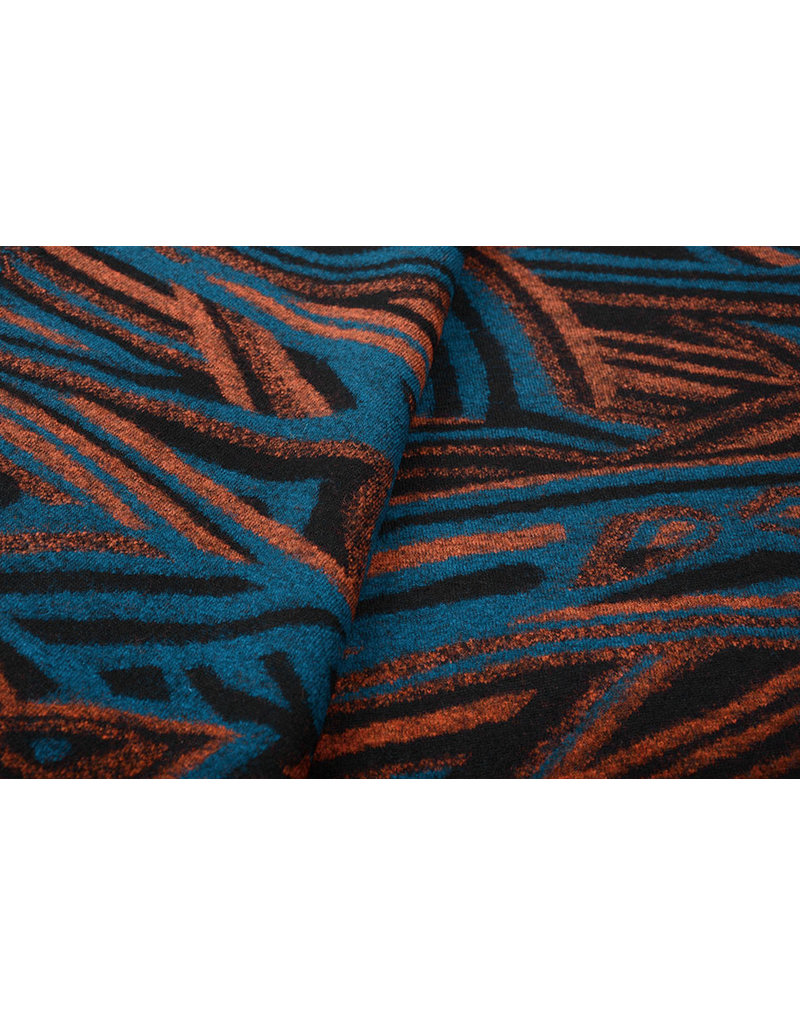 Knitted Woolen fabric Retro Petrol Brique