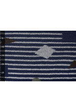 Knitted Woolen fabric Stripes Kubic Navy